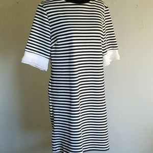 New York & Company Black-and-White Striped Dress